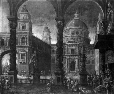 Possibly Neapolitan School. Solomon's Temple with the Judgment of Solomon, 17th century. Oil on canvas, 39 x 47 1/8 in. (99.1 x 119.7 cm). Brooklyn Museum, Gift of Francis Gottsberger in memory of his wife, Eliza, 06.23