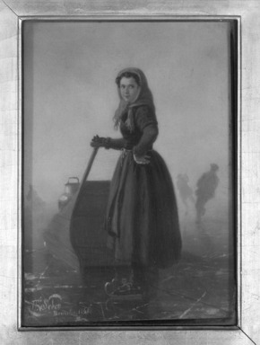 Henri van Seben (Belgian, 1825-1913). Peasant Girl on Skates with Sledge, 1865. Oil on panel, 8 9/16 x 6 1/16 in.  (21.7 x 15.4 cm). Brooklyn Museum, Bequest of Caroline H. Polhemus, 06.319