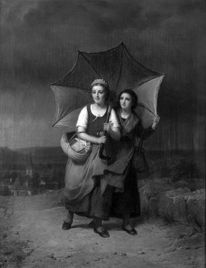 François Verheyden (Belgian, 1806-1889). School Girls Caught in a Storm (Le Retour de l'école), 1869. Oil on canvas, 27 5/8 x 21 7/8 in.  (70.2 x 55.6 cm). Brooklyn Museum, Bequest of Caroline H. Polhemus, 06.322