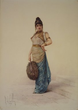 Louis-Robert de Cuvillon (French, 1848-1931). Harem Woman with Ostrich Fan, 1892. Watercolor on illustration board, 10 13/16 x 7 5/8 in. (27.5 x 19.4 cm). Brooklyn Museum, Bequest of Caroline H. Polhemus, 06.327
