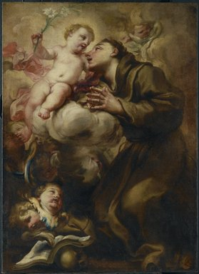 Domenico Piola (Italian, Genoese, 1627-1703). Appearance of the Christ Child to Saint Anthony of Padua, last quarter of the 17th century. Oil on canvas, 35 1/2 x 25 3/4 in.  (90.2 x 65.4 cm). Brooklyn Museum, Gift of Francis Gottsberger in memory of his wife, Eliza, 06.335.2