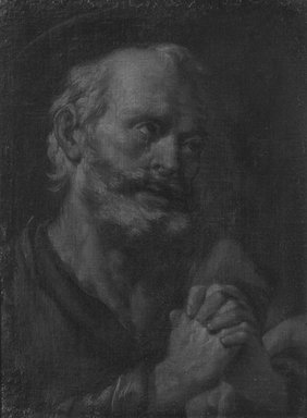 Spanish, probably School of Seville. Head of Penitent Saint Peter, 1660-1700. Oil on canvas, 23 x 17 1/16 in.  (58.4 x 43.3 cm). Brooklyn Museum, Gift of Francis Gottsberger in memory of his wife, Eliza, 06.335.3