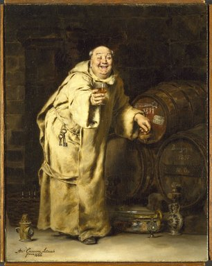 Antonio Casanova y Estorach (Spanish, 1847-1896). Monk Testing Wine, 1886. Oil on canvas, 16 3/16 x 12 3/4 in. (41.1 x 32.4 cm). Brooklyn Museum, Bequest of Caroline H. Polhemus, 06.336.1
