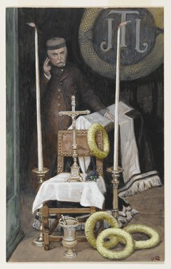 James Tissot (French, 1836-1902). Portrait of the Pilgrim (Portrait du pèlerin), 1886-1896. Opaque watercolor over graphite on gray wove paper, Image: 9 1/16 x 5 5/8 in. (23 x 14.3 cm). Brooklyn Museum, Gift of Thomas E. Kirby, 06.39