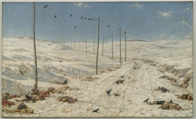 Vasily Vereshchagin (Russian, 1842-1904). The Road of the War Prisoners, 1878-1879. Oil on canvas, 71 1/4 x 117 11/16 x 2 1/4 in. (181 x 298.9 x 5.7 cm). Brooklyn Museum, Gift of Lilla Brown in memory of her husband, John W. Brown , 06.46