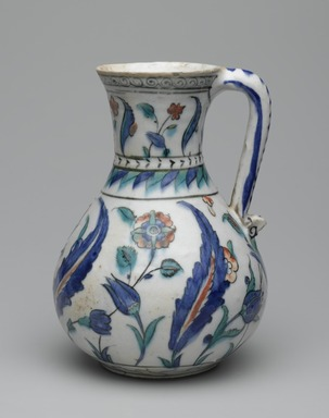 Jug, second half of the 16th century. Ceramic; fritware, painted in black, cobalt blue, green, and red under a transparent glaze, 17 7/8 x 15 1/2 in. (45.4 x 39.4 cm). Brooklyn Museum, Museum Collection Fund, 06.4. Creative Commons-BY