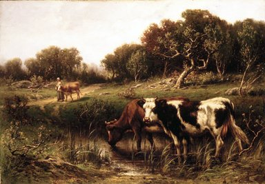 John Carleton Wiggins (American, 1848-1932). Cattle in a Pool, 1883. Oil on canvas, 23 x 33 1/16 in. (58.4 x 83.9 cm). Brooklyn Museum, Bequest of Caroline H. Polhemus, 06.52