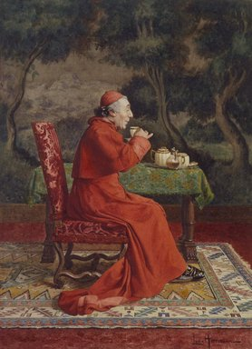 Léo Herrmann (French, 1853-1927). Cardinal Taking Tea, not dated. Gouache, watercolor, and graphite on wove paper, Image: 10 13/16 x 7 7/8 in. (27.5 x 20 cm). Brooklyn Museum, Bequest of Caroline H. Polhemus, 06.72