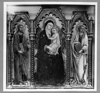 Sano di Pietro (Italian, Sienese, 1405-1481). Madonna and Child with Saints James Major and John the Evangelist, altarpiece, early 1460s. Tempera and gold on panel, Central panel: 56 1/2 x 25 3/4 in. (143.5 x 65.4 cm). Brooklyn Museum, Gift of A. Augustus Healy, 06.80