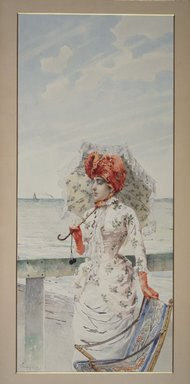 Vittorio Matteo Corcos (Italian, 1859-1933). Woman at Seaside Resort, n.d. Watercolor and gouache on paper, 23 15/16 x 10 5/8 in.  (60.8 x 27.0 cm). Brooklyn Museum, Bequest of William H. Herriman, 06.89