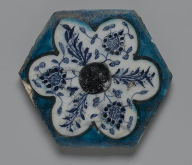 Hexagonal Tile, mid 15th century. Ceramic; fritware, painted in cobalt blue, turquoise and manganese purple under a transparent glaze, 6 3/4 x 13/16 x 6 3/4 in. (17.1 x 2 x 17.1 cm). Brooklyn Museum, Museum Collection Fund, 07.175. Creative Commons-BY