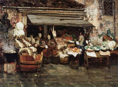 Alessandro Milesi (Italian, 1856-1945). Market Scene in Venice, 1894. Oil on canvas, 30 1/2 x 41 in. (77.5 x 104.1 cm). Brooklyn Museum, Museum Collection Fund, 07.268