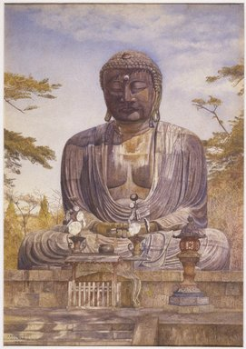 Henry  Roderick Newman (American, 1843-1917). Daibutsu, Great Bronze Statue of Buddha at Kamakura, Japan, 1898. Watercolor and graphite on paper, 20 x 14 in. (50.8 x 35.6 cm). Brooklyn Museum, Gift of Alfred T. White, 07.270
