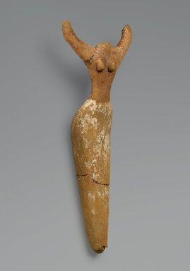 Female Figurine, ca. 3650 B.C.E.-3300 B.C.E. Terracotta, paint, 9 1/4 x 3 1/2 x 1 3/4 in. (23.5 x 8.9 x 4.4 cm). Brooklyn Museum, Charles Edwin Wilbour Fund, 07.447.500. Creative Commons-BY