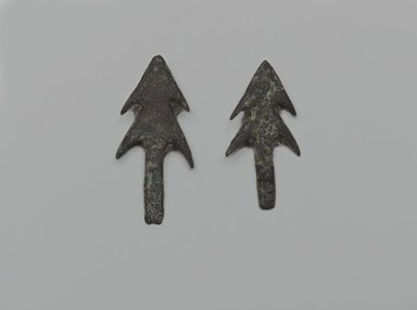 2 Double-Barbed Arrow-Heads. Copper, 07.447.763a: 5/8 x 1 3/8 in. (1.6 x 3.5 cm). Brooklyn Museum, Charles Edwin Wilbour Fund, 07.447.763a-b. Creative Commons-BY