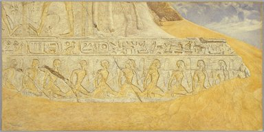 Henry  Roderick Newman (American, 1843-1917). Captives of Ramses II, 1907. Watercolor and graphite on paper, 20 x 40 1/16 in. (50.8 x 101.8 cm). Brooklyn Museum, Gift of Alfred T. White, 07.458