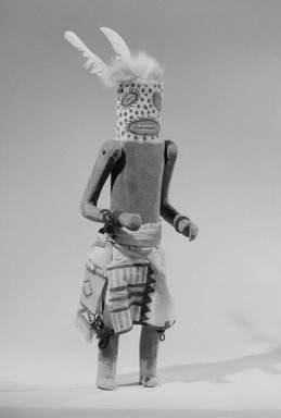 She-we-na (Zuni Pueblo) (Native American). Kachina Doll (Hamache), late 19th century. Wood, feather, fur, pigment, cotton, 14 15/16in. (38cm)  4 3/4 x 5 in. (12.1 x 12.7 cm). Brooklyn Museum, Museum Expedition 1907, Museum Collection Fund, 07.467.8398. Creative Commons-BY