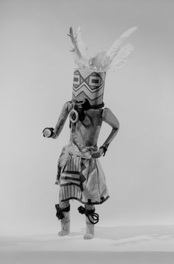 She-we-na (Zuni Pueblo) (Native American). Kachina Doll (Tsekohpastih), late 19th century. Wood, feather, cotton, wool, pigment, plant fiber, 15 x 4 5/8 x 5 in. (38.1 x 11.7 x 12.7 cm). Brooklyn Museum, Museum Expedition 1907, Museum Collection Fund, 07.467.8439. Creative Commons-BY
