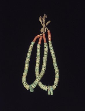 Manta (She-we-na (Zuni Pueblo), Native American). 21 Pieces of Turquoise: 8 worked and 13 unworked, (Thle-e-kwa) or earrings, early 20th century. Turquoise, coral, cotton string, 3 1/4 x 3/16 in. (8.3 x 0.5 cm). Brooklyn Museum, Museum Expedition 1907, Museum Collection Fund, 07.467.8454.1. Creative Commons-BY