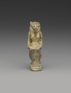 Amulet of Lion-Head Goddess Crouching, ca. 1075-30 B.C.E. Faience, 2 1/16 x 1 in. (5.3 x 2.5 cm). Brooklyn Museum, Charles Edwin Wilbour Fund, 08.480.118. Creative Commons-BY