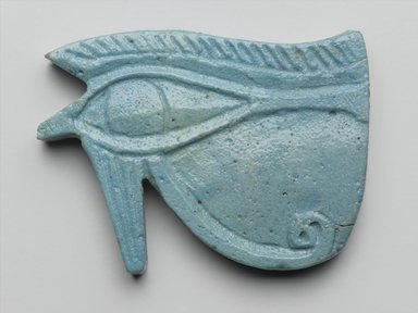 Wadjet-Eye Amulet, 664-332 B.C.E. Faience, 2 5/8 x 1 7/8 x 5/16 in. (6.7 x 4.8 x 0.8 cm). Brooklyn Museum, Charles Edwin Wilbour Fund, 08.480.129. Creative Commons-BY