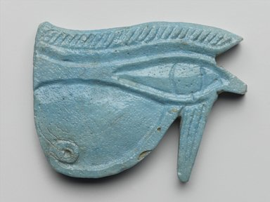 Wadjet-Eye Amulet, 664-332 B.C.E. Faience, 2 1/8 x 1 3/4 x 3/8 in. (5.4 x 4.4 x 0.9 cm). Brooklyn Museum, Charles Edwin Wilbour Fund, 08.480.129. Creative Commons-BY