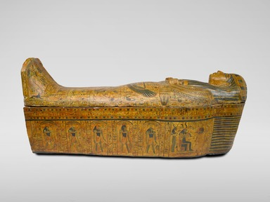 Outer Sarcophagus of the Royal Prince, Count of Thebes, Pa-seba-khai-en-ipet, ca. 1075-945 B.C.E. Wood, gesso, paint, 37 x 30 1/4 x 83 3/8 in., 287 lb. (94 x 76.8 x 211.8 cm, 130.2kg). Brooklyn Museum, Charles Edwin Wilbour Fund, 08.480.1a-b. Creative Commons-BY