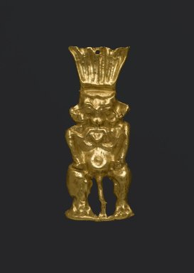 Standing Figure of Bes, 664-30 B.C.E. Gold, 1 9/16 x 9/16 x 3/16 in. (3.9 x 1.5 x 0.5 cm). Brooklyn Museum, Charles Edwin Wilbour Fund, 08.480.208. Creative Commons-BY