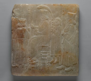 Archaizing Relief of a Seated King and Attendants, late 19th century. Alabaster, carved, 11 3/4 x 10 7/8 in. (29.8 x 27.7 cm). Brooklyn Museum, Charles Edwin Wilbour Fund, 08.480.224. Creative Commons-BY