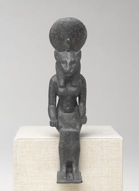 Seated Statuette of Sakhmet. Bronze, 7 1/8 x 1 7/8 x 3 3/16 in. (18.1 x 4.8 x 8.1 cm). Brooklyn Museum, Charles Edwin Wilbour Fund, 08.480.28. Creative Commons-BY
