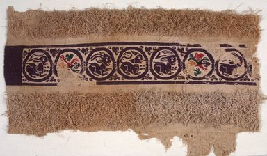 Coptic. Fragment of Tapestry-Woven, 401-600 C.E. Flax, wool, 13 3/4 x 23 1/4 in. (35 x 59.1 cm). Brooklyn Museum, Charles Edwin Wilbour Fund, 08.480.52. Creative Commons-BY