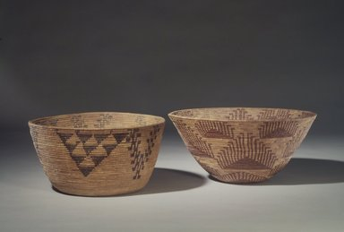 Amanda Wilson (Maidu, Native American, ca. 1860-1946). Coiled Cooking Basket (Bush-ku) with mountain quail topknot design (wash-wash-ka), ca. 1908. Sedge Root, redbud, willow shoots(?), 7 x 15 in. (18.5 x 38.0 cm). Brooklyn Museum, Museum Expedition 1908, Museum Collection Fund, 08.491.8683. Creative Commons-BY