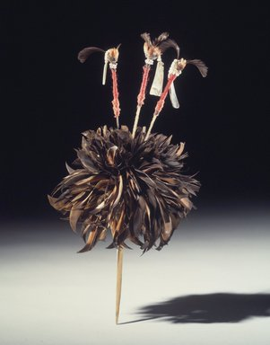 George Barber (Maidu, Native American, 1833-1918). Head Plume (Wo-lo-wai-to), One of a Pair, late 19th-early 20th century. Red-shafted flicker feathers, acorn woodpecker scalp feathers, valley-quail topknot feathers, abalone shell, glass beads, oak, iron wire, cotton string, 1 3/16 x 4 5/16 x 12 5/8 in. (3 x 11 x 32.1 cm). Brooklyn Museum, Museum Expedition 1908, Museum Collection Fund, 08.491.8801.1. Creative Commons-BY