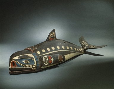 Kwakwaka'wakw. Baleen Whale Mask, 19th century. Cedar wood, hide, cotton cord, nails, pigment, 23 5/8 x 28 1/2 x 81 1/8 in.  (60 x 72.4 x 206 cm). Brooklyn Museum, Museum Expedition 1908, Museum Collection Fund, 08.491.8901. Creative Commons-BY