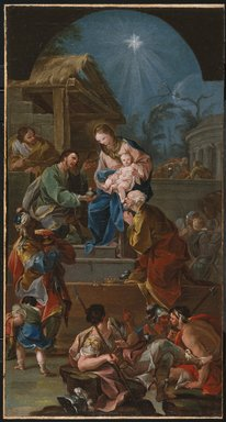 Antonio González Velázquez (Spanish, 1723-1794). Adoration of the Magi (Adoración de los Magos), mid 18th century. Oil on canvas, 32 3/16 x 17 in. (81.8 x 43.2 cm). Brooklyn Museum, Gift of Francis Gottsberger in memory of his wife, Eliza, 08.500.1