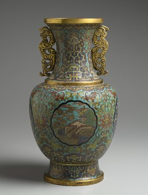 Vase, 1736-1795. Cloisonné enamel on copper alloy, 15 7/8 x 8 11/16 in. (40.3 x 22 cm). Brooklyn Museum, Gift of Samuel P. Avery, 09.503. Creative Commons-BY