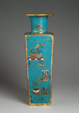 Vase, late 18th century. Cloisonné enamel on copper alloy, 20 9/16 x 6 1/4 in. (52.3 x 15.8 cm). Brooklyn Museum, Gift of Samuel P. Avery, 09.512. Creative Commons-BY