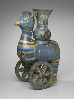 Ceremonial Wine Vessel on Wheels, early 18th century. Cloisonné enamel on copper alloy, 21 5/8 x 9 1/16 x 14 3/8 in. (55 x 23 x 36.5 cm). Brooklyn Museum, Gift of Samuel P. Avery, Jr., 09.513a-b. Creative Commons-BY