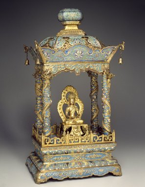 Shrine with an Image of a Bodhisattva, 1736-1795. Shrine: Cloisonné enamel on copper alloy; Image: Copper with semiprecious stones, 25 1/4 x 14 3/8 x 10 5/8 in. (64.1 x 36.5 x 27 cm). Brooklyn Museum, Gift of Samuel P. Avery, Jr., 09.520a-b. Creative Commons-BY