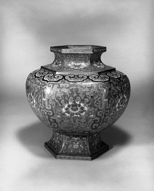 Large Hexagonal Vase, 1736-1795. Cloisonné enamel on copper alloy, 14 3/16 x 13 3/16 in. (36 x 33.5 cm). Brooklyn Museum, Gift of Samuel P. Avery, 09.543. Creative Commons-BY