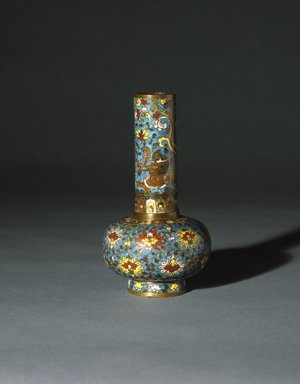 Vase, early 16th century. Cloisonne enamel on copper alloy, 6 5/8 x 3 5/8 in. (16.8 x 9.2 cm). Brooklyn Museum, Gift of Samuel P. Avery, 09.553. Creative Commons-BY