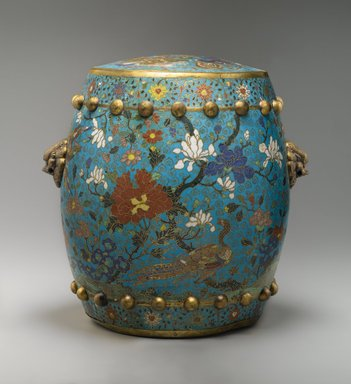 Garden Seat, early 17th century. Cloisonné enamel on copper alloy, 15 3/8 x 16 3/8 in. (39.1 x 41.6 cm). Brooklyn Museum, Gift of Samuel P. Avery, 09.585. Creative Commons-BY