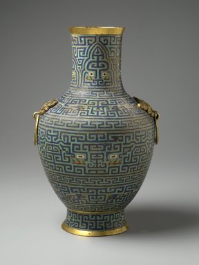 Vase, 18th century. Cloisonné enamel on copper alloy, gilt bronze, 16 1/2 x 10 1/2 x 10 in., 9.5 lb. (41.9 x 26.7 x 25.4 cm, 4.31kg). Brooklyn Museum, Gift of Samuel P. Avery, 09.598. Creative Commons-BY