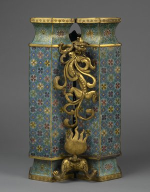 Twin Vases with Carved Stand, 1736-1795. Cloisonné enamel on copper alloy, gilt bronze, 25 1/4 x 15 x 13 in., 74.5 lb. (64.1 x 38.1 x 33 cm, 33.79kg). Brooklyn Museum, Gift of Samuel P. Avery, 09.606a-b. Creative Commons-BY