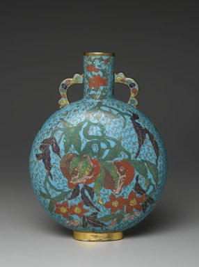 Pilgrim Bottle Vase, early 17th century. Cloisonné enamel on copper alloy, 10 1/4 x 6 11/16 in. (26 x 17 cm). Brooklyn Museum, Gift of Samuel P. Avery, 09.657. Creative Commons-BY
