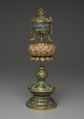 Buddhist Ritual Object in Form of a Canopy on Lotus Base, 1736-1795. Cloisonne enamel on copper alloy, overall: 15 x 4 3/4 in. (38.1 x 12.1 cm). Brooklyn Museum, Gift of Samuel P. Avery, Jr., 09.662. Creative Commons-BY