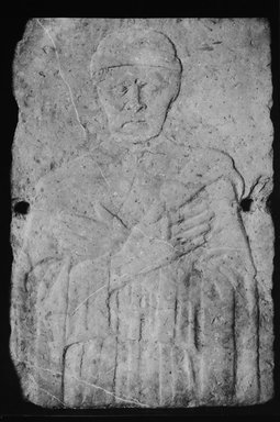 Italian. Carved Tomb Slab.  Relief, half-length portrait of beardless manwith eyes closed, hands crossed on breast., 15th century. Stone, 37 x 25 1/4 x 6 in. (94 x 64.1 x 15.2 cm). Brooklyn Museum, Gift of A. Augustus Healy, 09.795. Creative Commons-BY