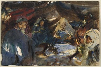 John Singer Sargent (American, 1856-1925). Arab Gypsies in a Tent, 1905-1906. Opaque and translucent watercolor with graphite underdrawing, 12 x 18 in. (30.5 x 45.7 cm). Brooklyn Museum, Purchased by Special Subscription, 09.807