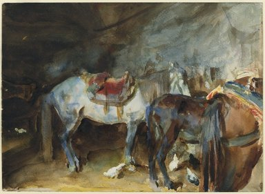 John Singer Sargent (American, 1856-1925). Arab Stable, 1905-1906. Translucent and opaque watercolor with graphite underdrawing, 10 7/16 x 14 3/8in. (26.5 x 36.5cm). Brooklyn Museum, Purchased by Special Subscription, 09.808