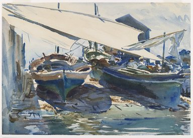 John Singer Sargent (American, 1856-1925). Boats Drawn Up, ca. 1908. Translucent watercolor and touches of opaque watercolor with graphite underdrawing, 14 x 19 15/16 in. (35.6 x 50.7 cm). Brooklyn Museum, Purchased by Special Subscription, 09.816